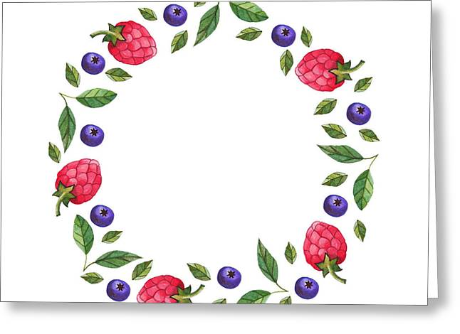 Berries Wreath Greeting Card by Anastasia Stepanova