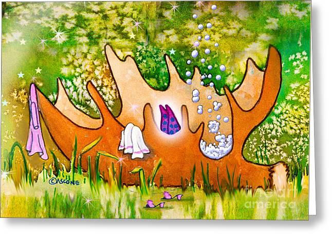 Berry Fairy Bubble Bath Greeting Card by Teresa Ascone