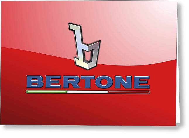 Bertone 3 D Badge On Red Greeting Card by Serge Averbukh