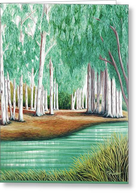 Beside Still Waters - Psalm 23 - Prints From Original Oil Painting By Mary Grden Greeting Card