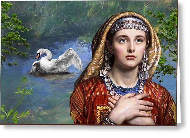 Beside The Swan Greeting Card