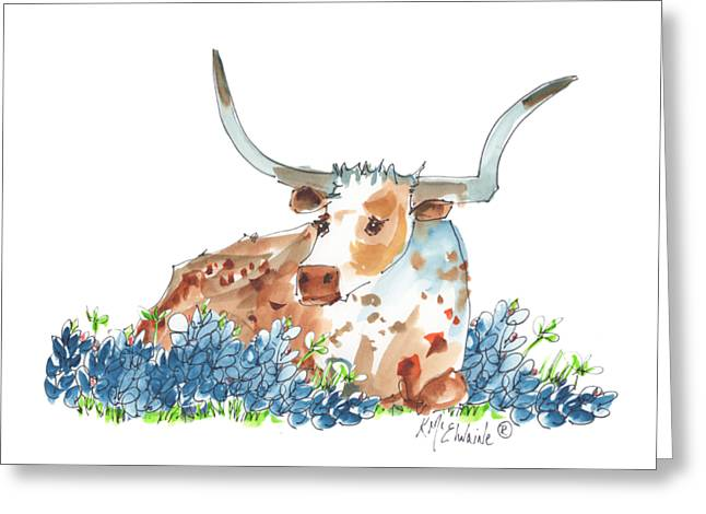 Bessie In The Bluebonnets Watercolor Painting By Kmcelwaine Greeting Card