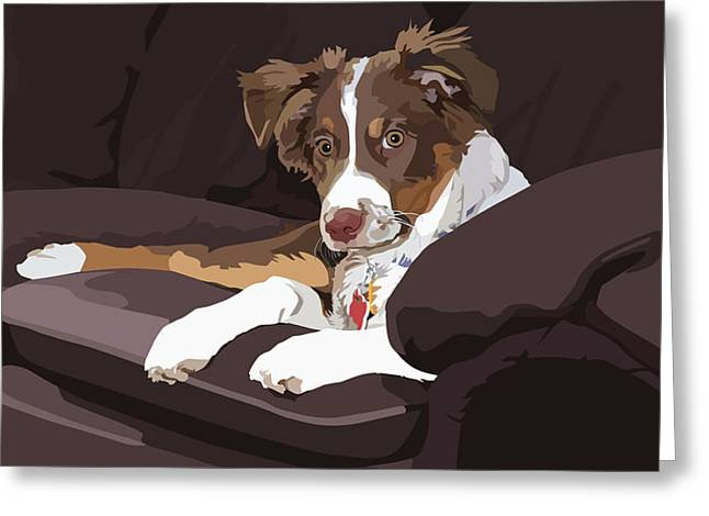 Dog On Couch Greeting Cards - Best Boy Greeting Card by Kris Hackleman