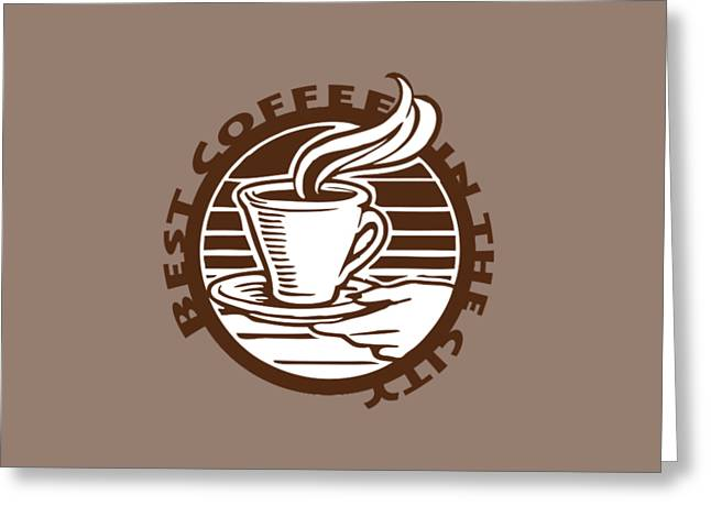 Greeting Card featuring the digital art Best Coffee In The City by Jennifer Hotai