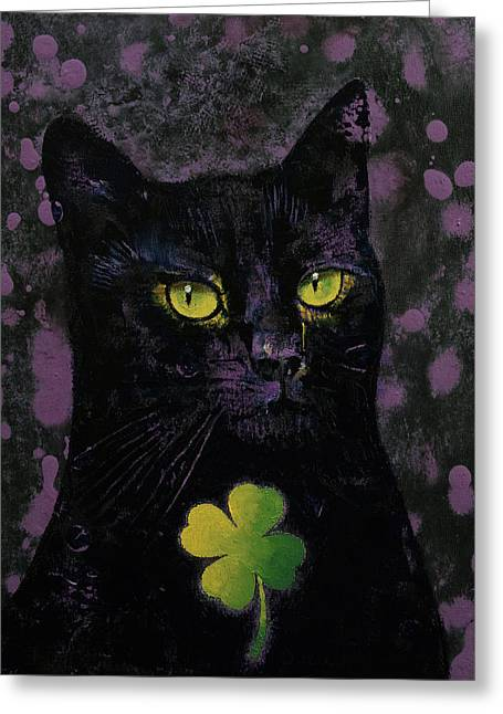 Lucky Black Cat Greeting Card by Michael Creese