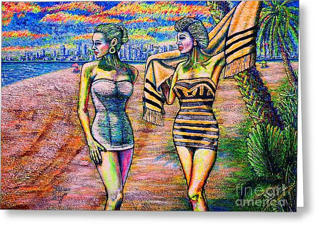 Bathers Greeting Card by Viktor Lazarev