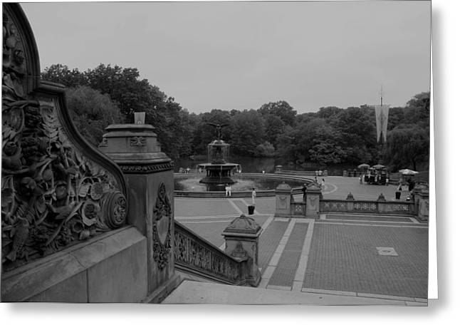 Bethesda Fountain Steps Greeting Card by Christopher Kirby
