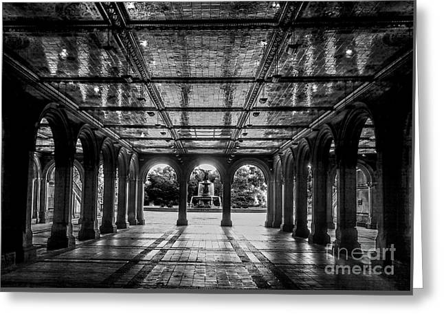 Bethesda Terrace Arcade 2 - Bw Greeting Card
