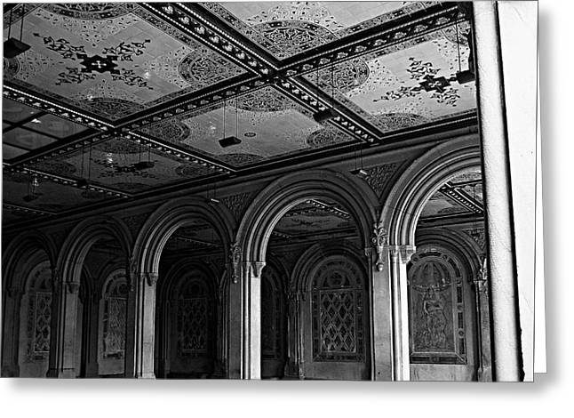 Bethesda Terrace Arcade In Central Park - Bw Greeting Card by James Aiken