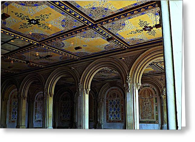 Bethesda Terrace Arcade In Central Park Greeting Card by James Aiken