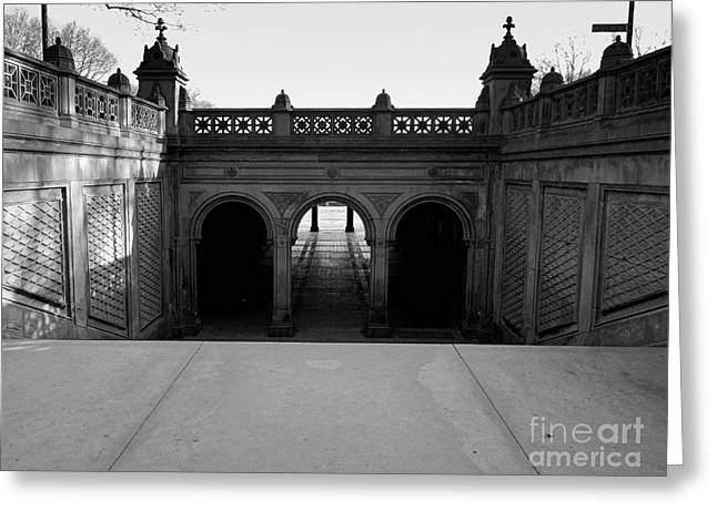 Bethesda Terrace In Central Park - Bw Greeting Card
