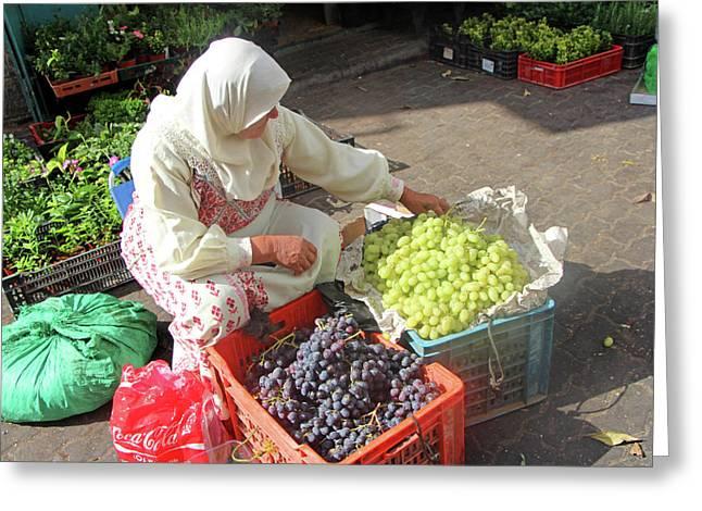 Bethlehem Grapes Seller Greeting Card by Munir Alawi