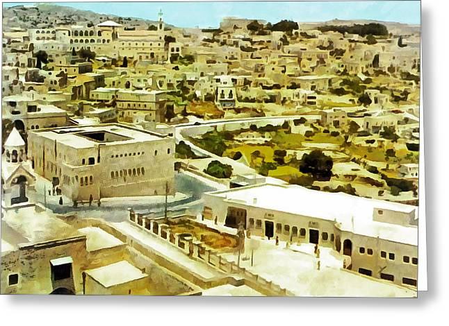 Bethlehem In 1960 Greeting Card by Munir Alawi
