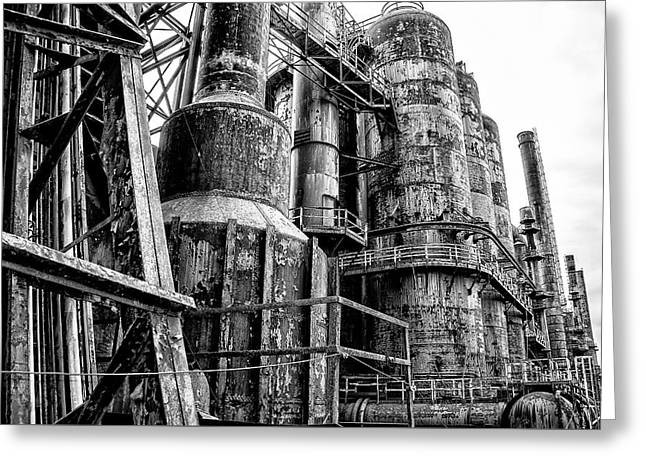 Bethlehem In Black And White - Steel Mill Greeting Card by Bill Cannon