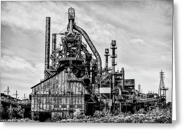 Bethlehem Pa Steel Plant  Side View In Black And White Greeting Card by Bill Cannon