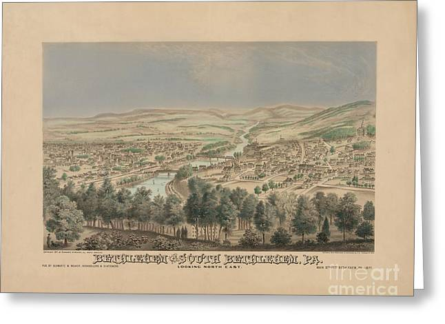 Bethlehem Pennsylvania Birdseye Print Greeting Card
