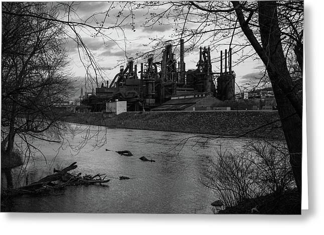 Greeting Card featuring the photograph Bethlehem Steel Bw by Jennifer Ancker