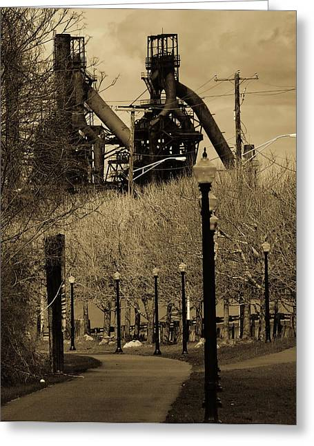 Bethlehem Steel Mill Greeting Card by Luis Lugo