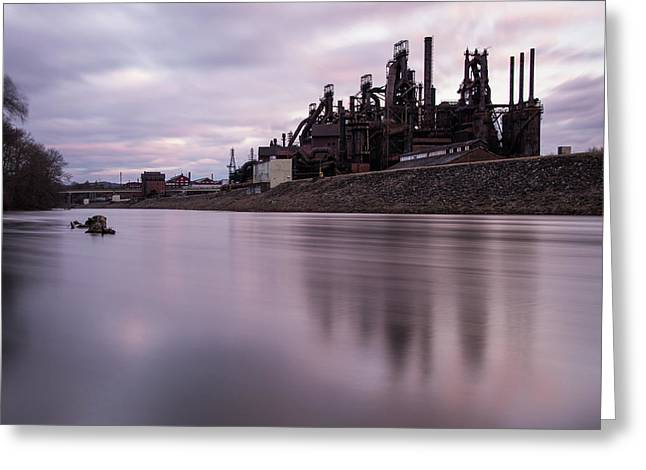 Greeting Card featuring the photograph Bethlehem Steel Sunset by Jennifer Ancker