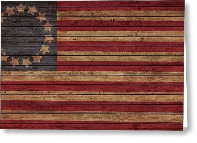 Betsy Ross American Flag Barn Greeting Card