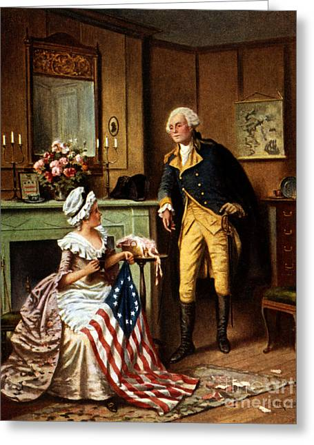 Betsy Ross And George Washington Greeting Card