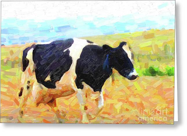 Betsy The Milk Cow Coming Home Greeting Card by Wingsdomain Art and Photography