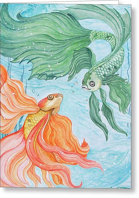 Betta Dance Greeting Card by Sandra Gale