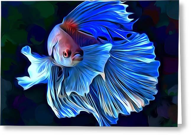 Betta Fish 1 Portrait  Greeting Card by Scott Wallace