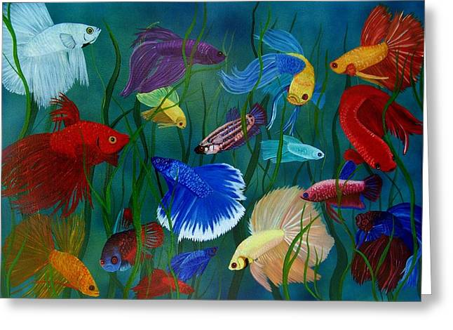 Bettas In Motion Greeting Card by Debbie LaFrance