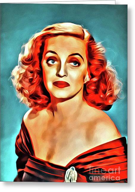 Bette Davis, Hollywood Legend, Digital Art By Mary Bassett Greeting Card by Mary Bassett