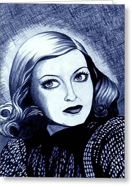 Bette Davis In Blue Greeting Card