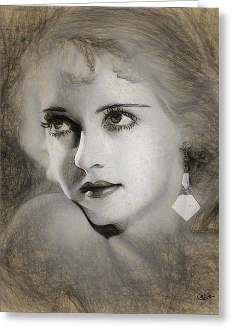 Bette Davis Sketch Greeting Card by Quim Abella