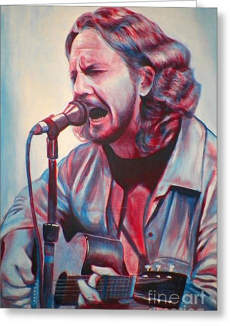 Betterman Eddie Vedder Greeting Card by Derek Donnelly