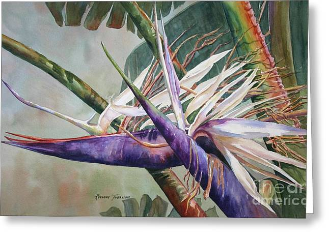 Greeting Card featuring the painting Betty's Bird - Bird Of Paradise by Roxanne Tobaison