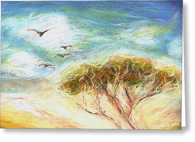 Greeting Card featuring the drawing Betty's Tree by Denise Fulmer