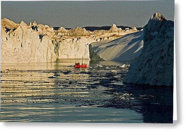 Snow. Ocean Greeting Cards - Between Icebergs - Greenland Greeting Card by Juergen Weiss