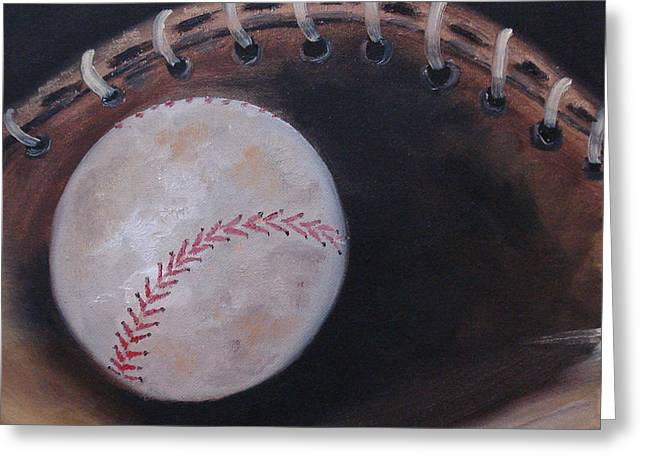 Between Innings Greeting Card by Judith Rhue