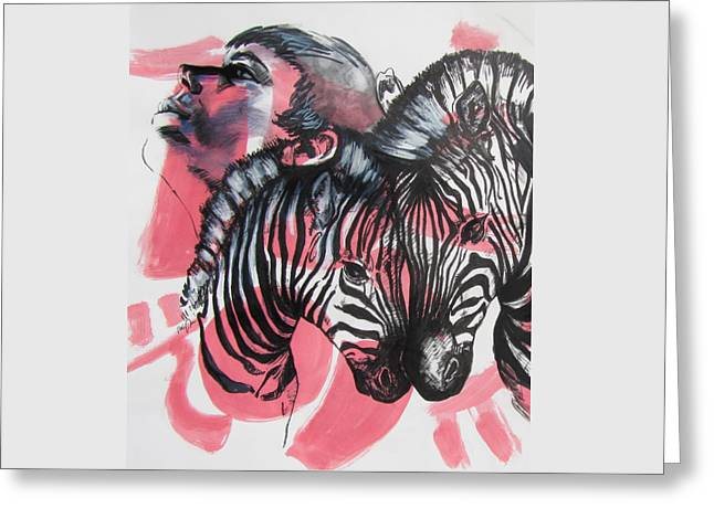 Greeting Card featuring the painting Between Stripes by Rene Capone