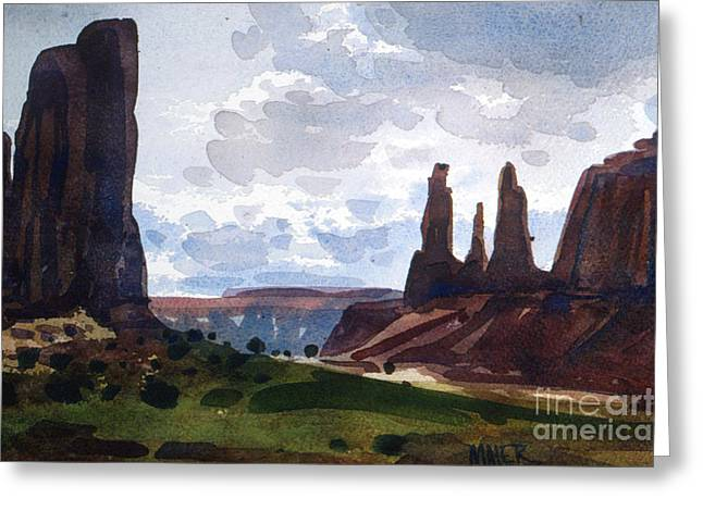 Between The Buttes Greeting Card by Donald Maier