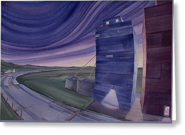 Greeting Card featuring the painting Between The Elevators II by Scott Kirby