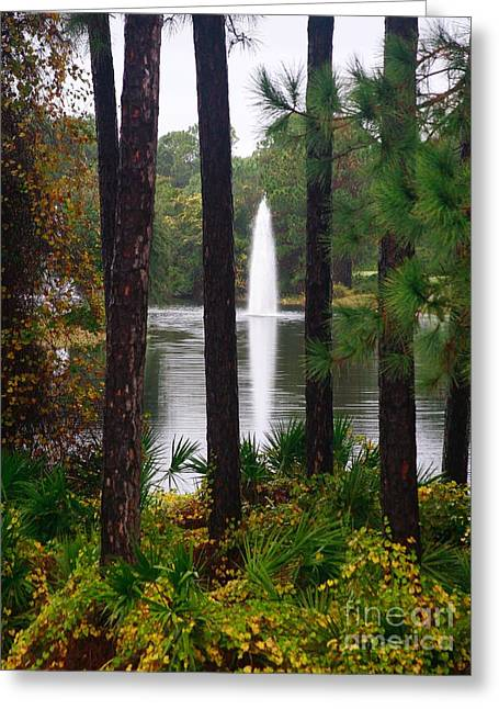 Greeting Card featuring the photograph Between The Fountain by Lori Mellen-Pagliaro