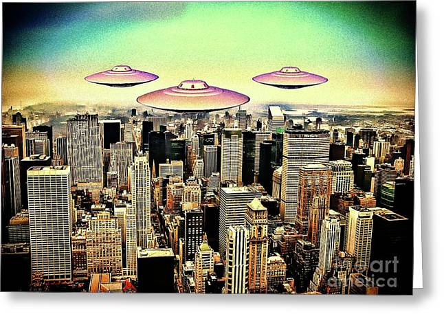 Between The Moon And New York City By Raphael Terra Greeting Card