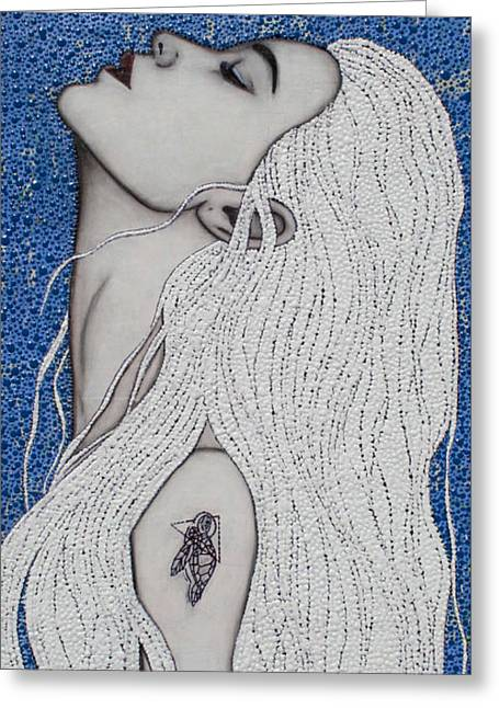 Greeting Card featuring the mixed media Between The Sea And Sky by Natalie Briney