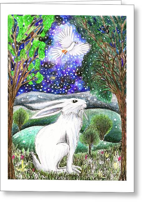 Greeting Card featuring the painting Between The Trees by Lise Winne