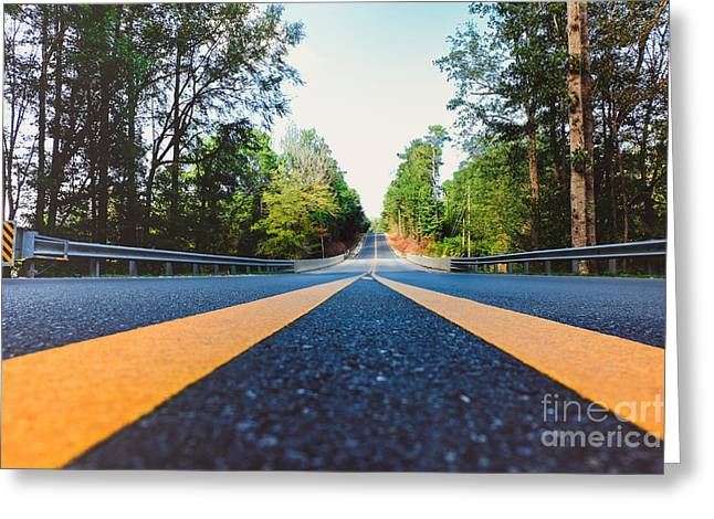 Between Yellow Lines Greeting Card