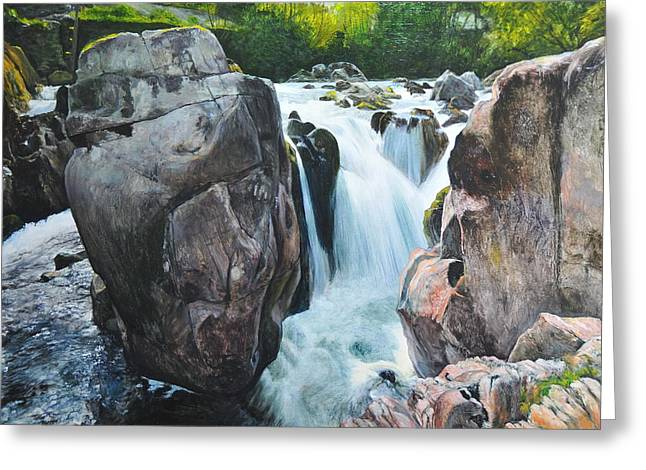 Betws-y-coed Waterfall In North Wales Greeting Card by Harry Robertson