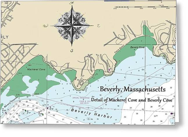 Beverly Cove Nautical Map Greeting Card