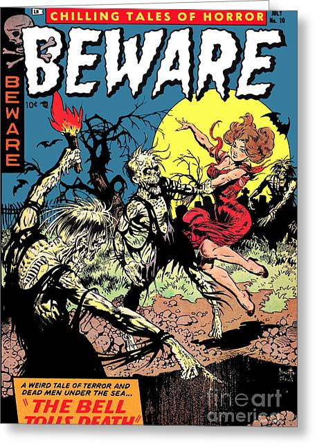 Beware 1950s Horror Comic Book Cover  Greeting Card by Halloween Dreams