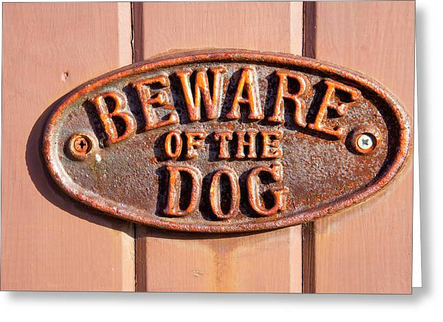 Beware Of The Dog Greeting Card by Tom Gowanlock