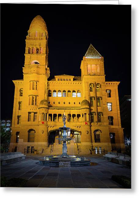 Bexar County Courthouse Illumination Greeting Card by Stephen Stookey